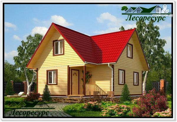 Фото: проект простой каркасный дом с мансардой