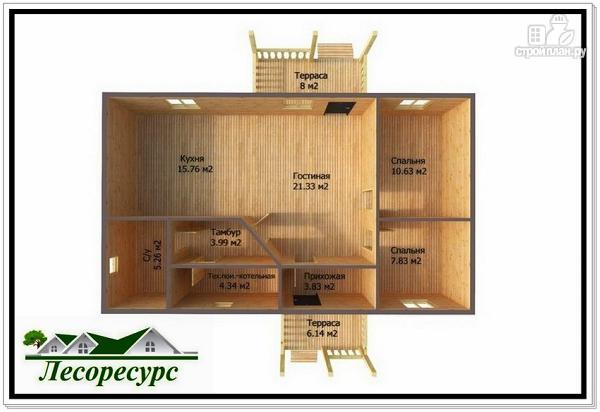 Фото 2: проект одноэтажный каркасный дом с двумя входами
