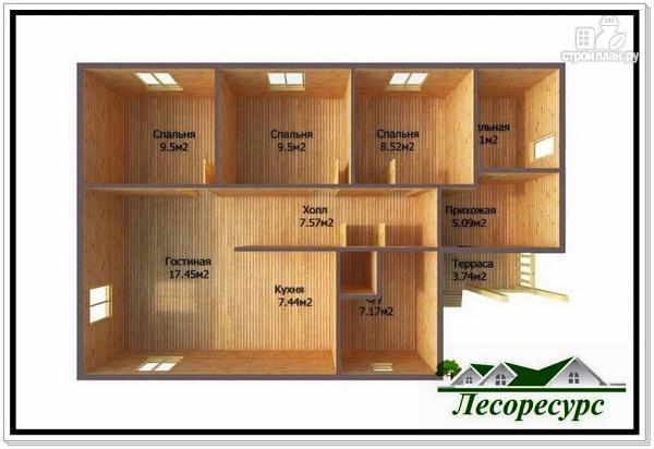 Фото 3: проект одноэтажный каркасный дом 8 на 12