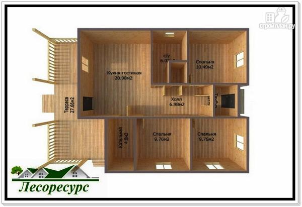 Фото 3: проект одноэтажный каркасный дом с вальмовой крышей