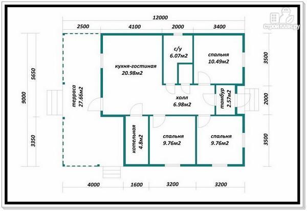 Фото 8: проект одноэтажный каркасный дом с вальмовой крышей