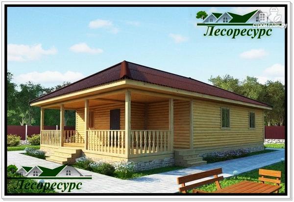 Фото: проект одноэтажный каркасный дом с вальмовой крышей