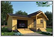 Фото: одноэтажный каркасный дом с гаражом
