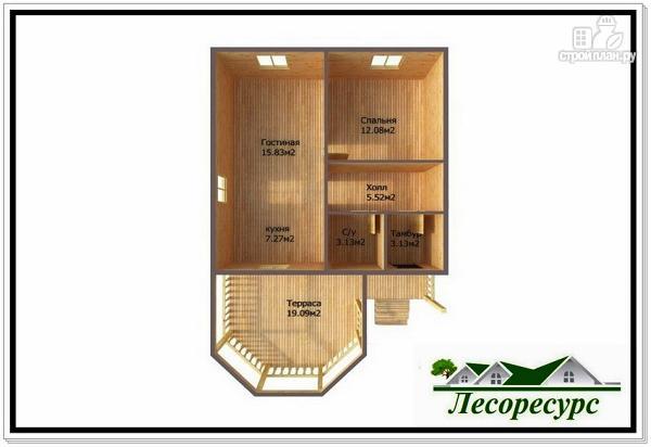 Фото 3: проект одноэтажный каркасный дом 7 на 11