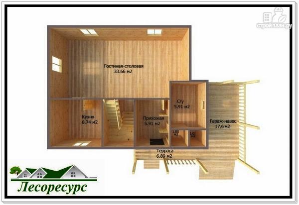 Фото 3: проект двухэтажный каркасный дом с навесом