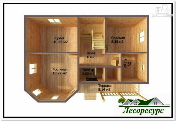 Фото 3: проект каркасный дом с эркером и террасой