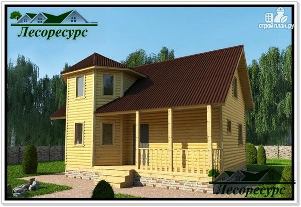 Фото: проект каркасный дом с эркером и террасой