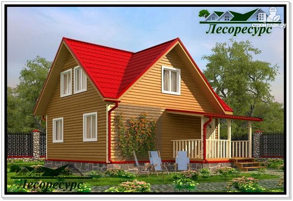 Фото: проект каркасный дом 7 на 8 с террасой