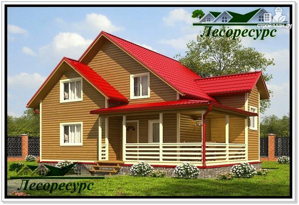 Фото: проект каркасный дом 9 на 10 с угловой террасой