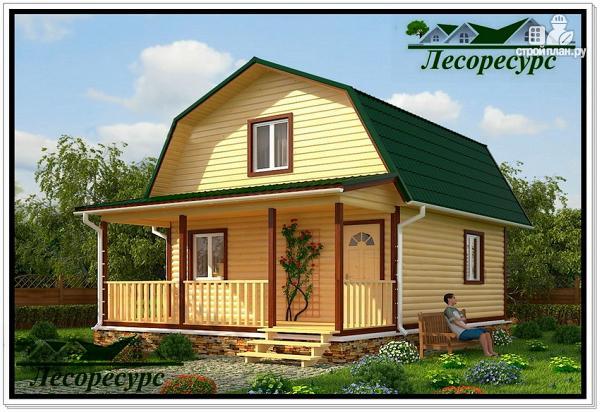 Фото: проект небольшой каркасный дом с террасой