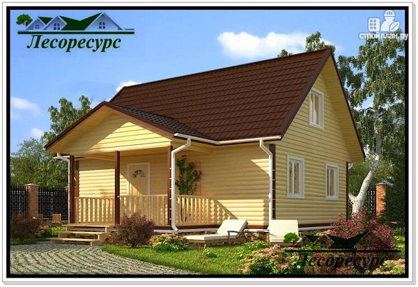 Фото: проект каркасный дом 8 на 8 с террасой