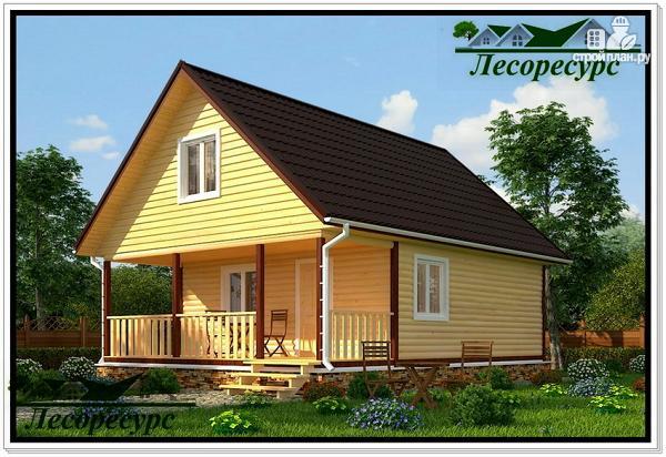 Фото: проект каркасный дом 6 на 8 с мансардой и террасой