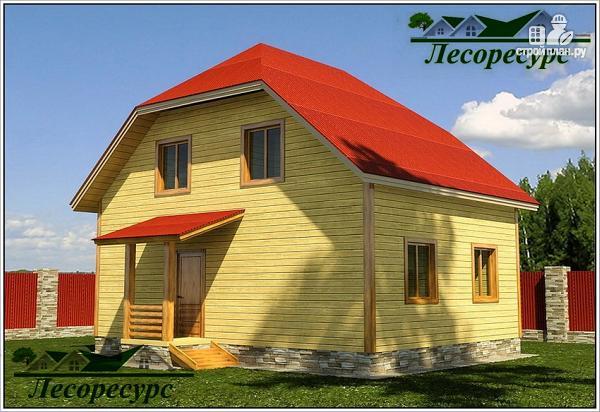 Фото: проект дом из бруса 6 на 8 с мансардой