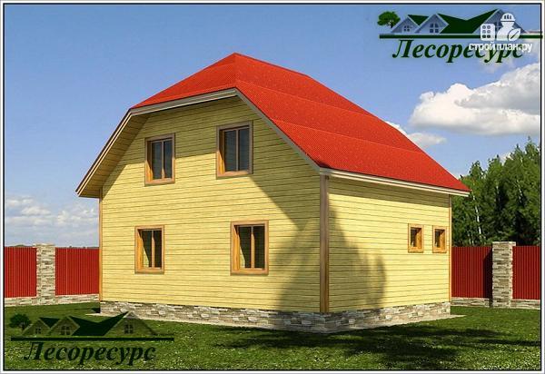 Фото 3: проект дом из бруса 6 на 8 с мансардой