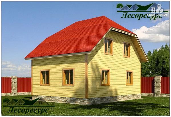 Фото 2: проект дом из бруса 6 на 8 с мансардой