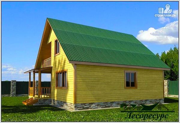 Фото 2: проект дом из бруса 8х9 с мансардой