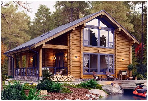 Фото: проект дом из бруса с двумя входами