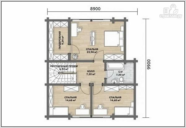 Фото 4: проект дом из бруса с двумя входами