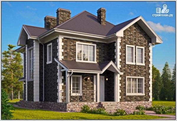 Фото: проект дом из пеноблоков с двумя входами