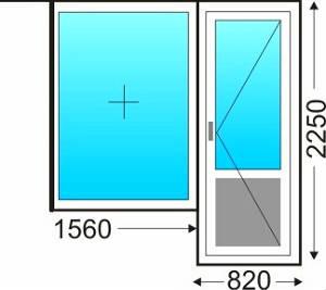 Балконный блок (глухая створка, балконная дверь поворотная)