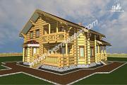 Проект дом из строганого соснового лафета с эркерной столовой