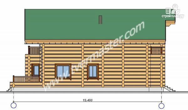 Фото 4: проект дом из строганого соснового лафета с тремя балконами и террасой