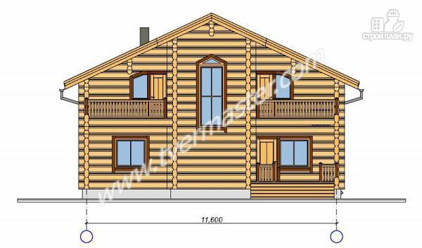 Фото 5: проект дом из строганого соснового лафета с тремя балконами и террасой