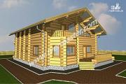 Проект дом из строганого соснового лафета с тремя балконами и террасой