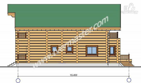 Фото 2: проект дом из строганого соснового лафета с тремя балконами и террасой