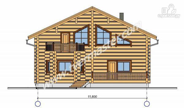 Фото 3: проект дом из строганого соснового лафета с тремя балконами и террасой