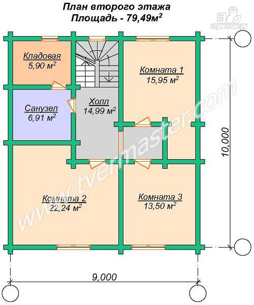 Фото 7: проект дом 10х11 из строганого соснового лафета с сауной