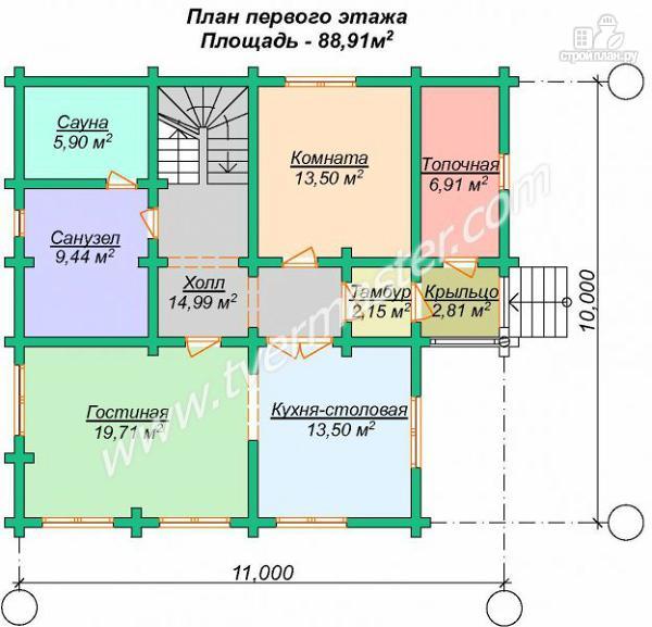 Фото 6: проект дом 10х11 из строганого соснового лафета с сауной