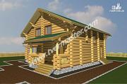 Проект дом из строганого соснового лафета с большим крыльцом