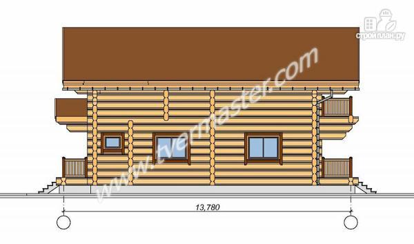 Фото 4: проект дом из строганого соснового лафета с широкими балконом и террасой