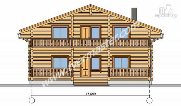 Фото 3: проект дом из строганого соснового лафета с широкими балконом и террасой