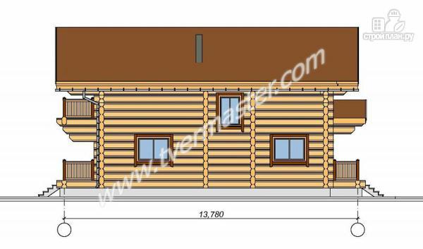 Фото 5: проект дом из строганого соснового лафета с широкими балконом и террасой