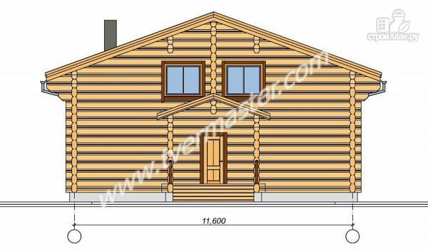 Фото 2: проект дом из строганого соснового лафета с широкими балконом и террасой