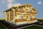 Проект дом из строганого соснового лафета с широкими балконом и террасой
