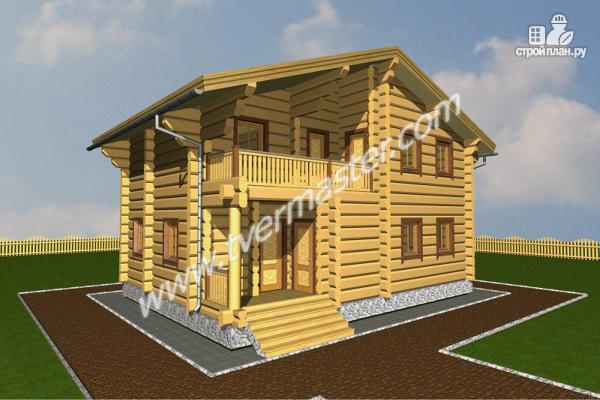 Фото: проект дом из строганого соснового лафета с балконом