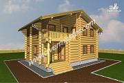 Проект дом из строганого соснового лафета с балконом