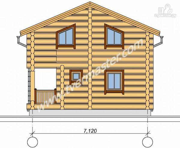 Фото: проект дом из строганого соснового лафета с балконом и угловой террасой