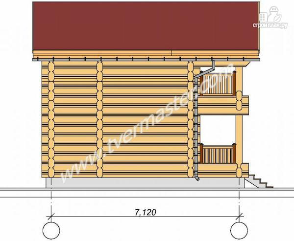 Фото 3: проект дом из строганого соснового лафета с балконом и угловой террасой