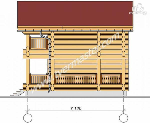 Фото 4: проект дом из строганого соснового лафета с балконом и угловой террасой