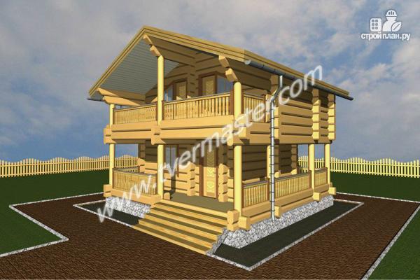 Фото 2: проект дом из строганого соснового лафета с балконом и угловой террасой
