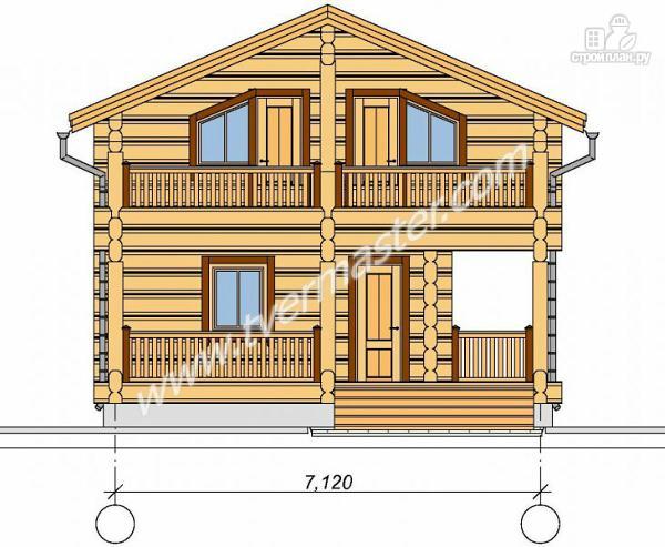 Фото 5: проект дом из строганого соснового лафета с балконом и угловой террасой
