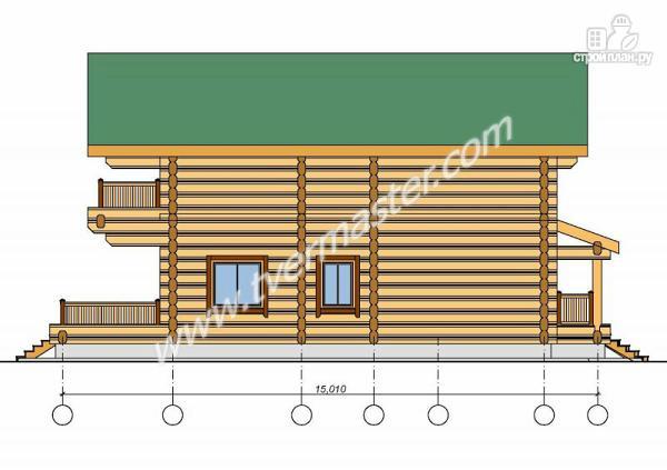 Фото 2: проект дом из строганого соснового  лафета с балконом и террасой