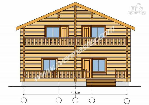 Фото 5: проект дом из строганого соснового  лафета с балконом и террасой