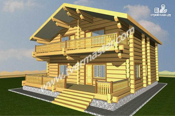 Фото: проект дом из строганого соснового  лафета с балконом и террасой