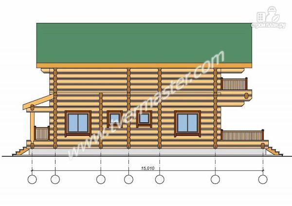 Фото 4: проект дом из строганого соснового  лафета с балконом и террасой