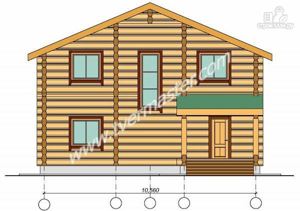 Фото 3: проект дом из строганого соснового  лафета с балконом и террасой